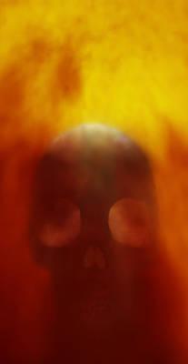 Burnt Digital Art - Flaming Skull by Richard Rizzo