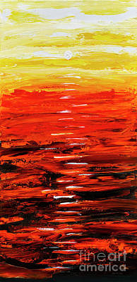 Art Print featuring the painting Flaming Sunset Abstract 205173 by Mas Art Studio