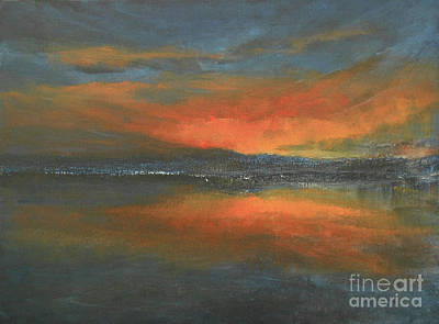 Painting - Flaming Sunset by Jane See
