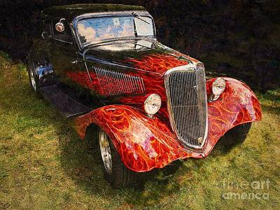 Photograph - Flaming V8 Ford by Anne Sands