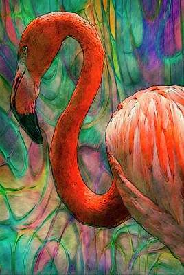 Manipulation Mixed Media - Flamingo 7 by Jack Zulli