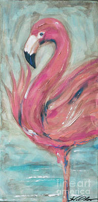 Painting - Flamingo Aged by Linda Olsen