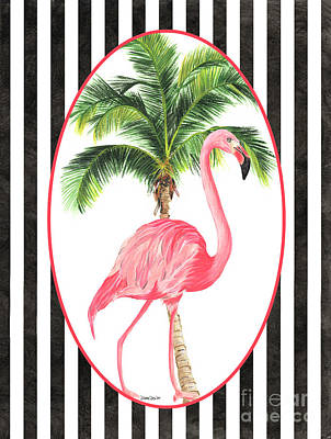 Art Print featuring the painting Flamingo Amore 7 by Debbie DeWitt