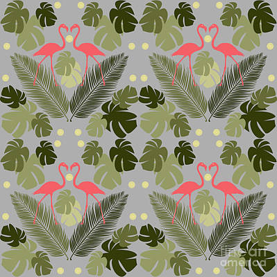 Repeating Digital Art - Flamingo And Palms by Claire Huntley