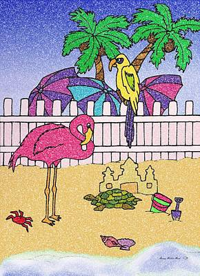 Sand Castles Mixed Media - Flamingo Bay 6 by Sherry Holder Hunt