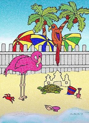 Sand Castles Mixed Media - Flamingo Bay 8 by Sherry Holder Hunt