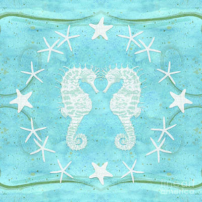 Painting - Flamingo Beach 2 - Seahorse N Starfish by Audrey Jeanne Roberts