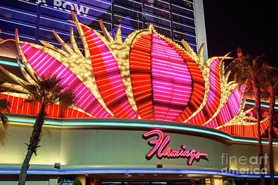 Flamingo Hotel Wall Art - Photograph - Flamingo Center Neon Sign At Night by Aloha Art