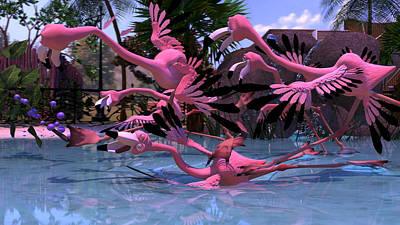 Digital Art - Flamingo Chaos by Alexis Kadonsky