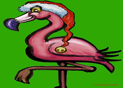 Flamingo Greeting Card - Flamingo Christmas by Kevin Middleton