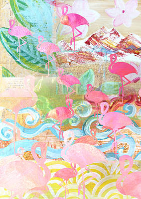 Summer Fun Mixed Media - Flamingo Collage by Claudia Schoen