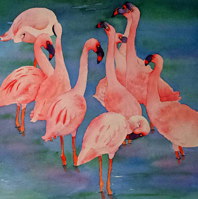 Painting - Flamingo Convention In The Square by Judy Mercer