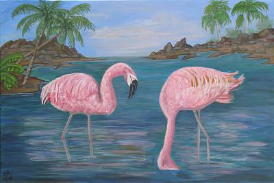 Flamingo Cove Art Print by Mikki Alhart