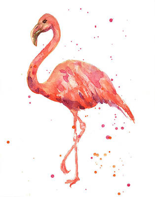 Watercolour Painting - Flamingo Facing Left by Alison Fennell