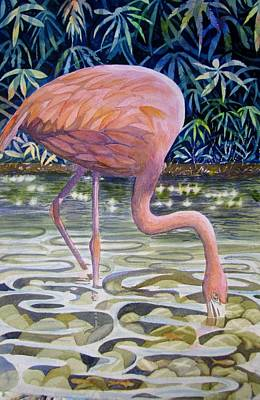 Flamingo Fishing Art Print by Martha Ayotte