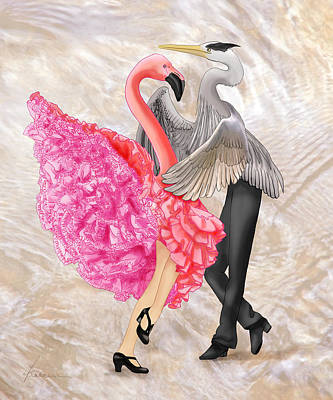 Digital Art - Flamingo Flamenco Heron by Francesa Miller