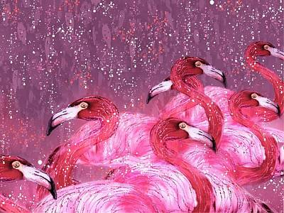 Flamingo Frenzy Art Print