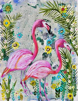 Wall Art - Painting - Flamingo Garden by Carol Iyer