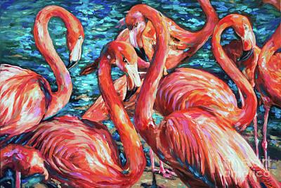 Painting - Flamingo Gossip by Linda Olsen