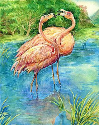 Flamingo In Love Art Print