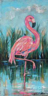 Painting - Flamingo In Pond by Linda Olsen
