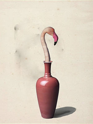 Digital Art - Flamingo In The Vase by Keshava Shukla