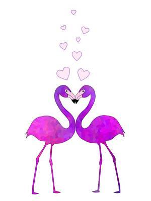 Digital Art - Flamingo Love Connection by Kathleen Sartoris