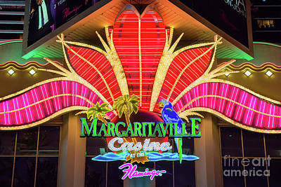 Photograph - Flamingo Margaritaville Neon Sign At Night by Aloha Art