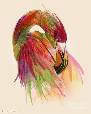 Geometric Animal Digital Art - Flamingo  by Mark Ashkenazi