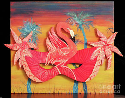 Painting - Flamingo Mask F54 by Lizi Beard-Ward