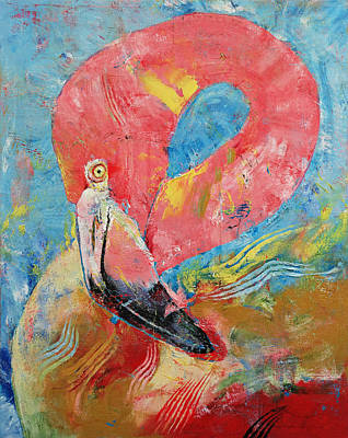 Tribal Art Painting - Pink Flamingo by Michael Creese