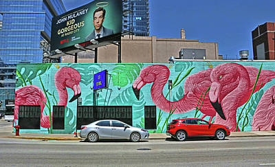Photograph - Flamingo Mural - Chicago by Allen Beatty