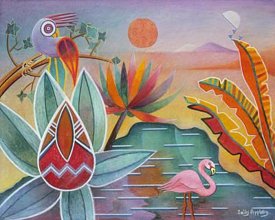 Flamingo Oasis Art Print by Sally Appleby