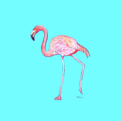 Painting - Flamingo On Blue by Kristen Abrahamson