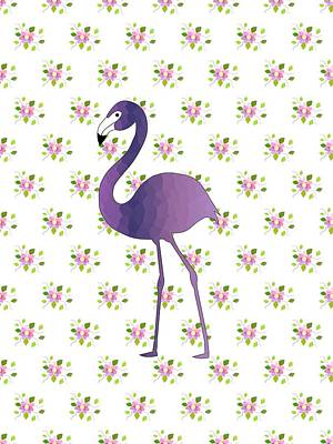 Digital Art - Flamingo On Floral by Kathleen Sartoris