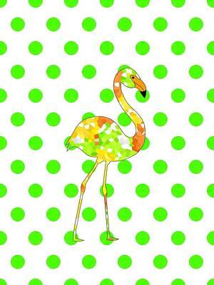 Digital Art - Flamingo On Green by Kathleen Sartoris