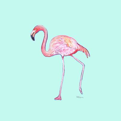 Painting - Flamingo On Mint Background by Kristen Abrahamson
