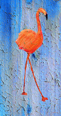 Peaceful Painting - Flamingo On Wood by Ken Figurski