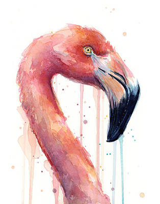 Flamingo Painting Watercolor - Facing Right Print by Olga Shvartsur