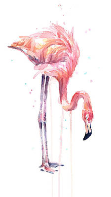 Flamingo Painting Watercolor Print by Olga Shvartsur