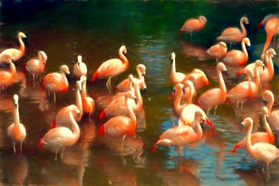 Flamingo Party Art Print by Sharon Lisa Clarke