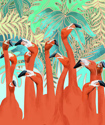 Digital Art - Flamingo Party by Uma Gokhale