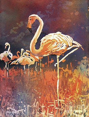 Poured Watercolours Painting - Flamingo Posing by Ryan Fox