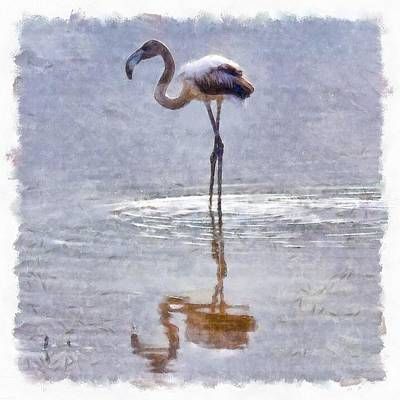 Painting - Flamingo Ripples And Reflections Watercolor by Tracey Harrington-Simpson