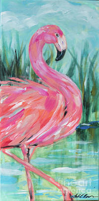 Painting - Flamingo Strut by Linda Olsen
