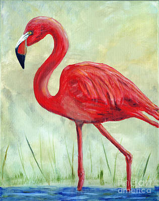 Cadmium Red Painting - Flamingo by Timothy Hacker