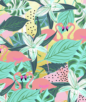 Digital Art - Flamingo Tropical by Uma Gokhale