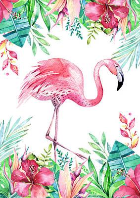 Wall Art - Mixed Media - Flamingo Tropicana by Amanda Lakey