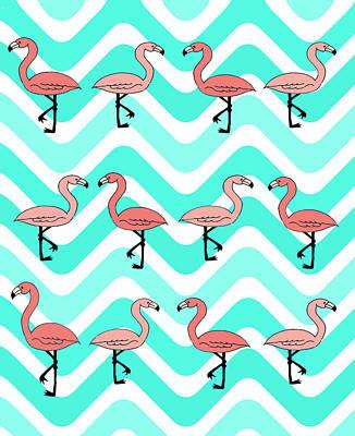 Flamingo Mixed Media - Flamingo Two Step by Nicole Wilson