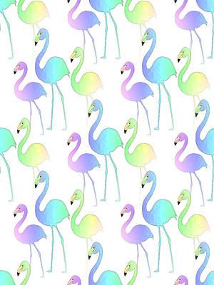 Digital Art - Flamingo Walk by Kathleen Sartoris